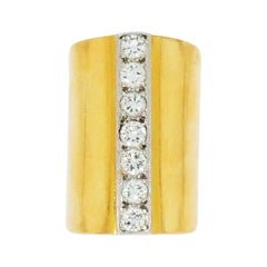 Wide Yellow Gold and Diamond Ring