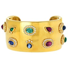 Wide Yellow Gold Gemstone Cuff Bangle Bracelet 18 Karat
