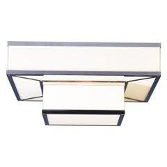 Wiener Werkstaette Brass & Glass Ceiling Lamp, Flush Mount, Re-Edition