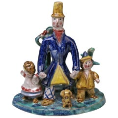 Wiener Werkstaette Ceramics Item the Walk Father Two Children Susi Singer 1921