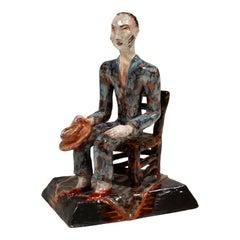 Wiener Werkstaette Expressive Ceramic Figure 'Man On Chair' by Susi Singer 1927