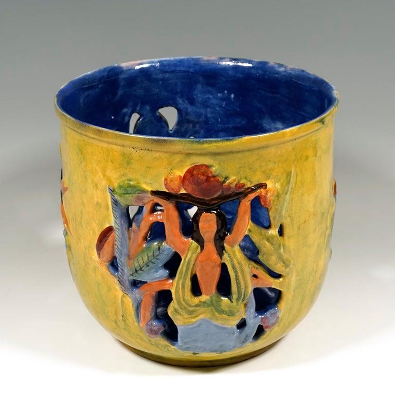 Expressionist Wiener Werkstaette Expressive Ceramic Flower Pot by Susi Singer, 1922-1925 For Sale