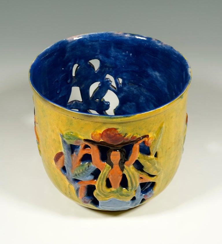 Glazed Wiener Werkstaette Expressive Ceramic Flower Pot by Susi Singer, 1922-1925 For Sale