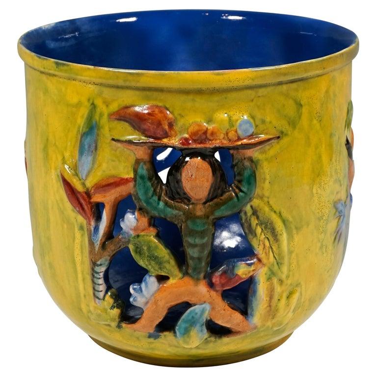 Wiener Werkstaette Expressive Ceramic Flower Pot by Susi Singer, 1922-1925 For Sale
