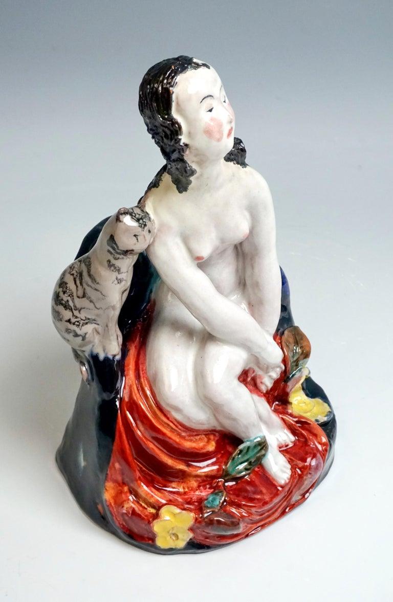 Austrian Wiener Werkstaette Expressive Vienna Ceramics Girl with Cat by Susi Singer, 1923