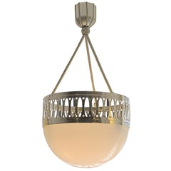 Wiener Werkstaette Pendant/Chandelier Opaline Glass and Passementerie Re Edition