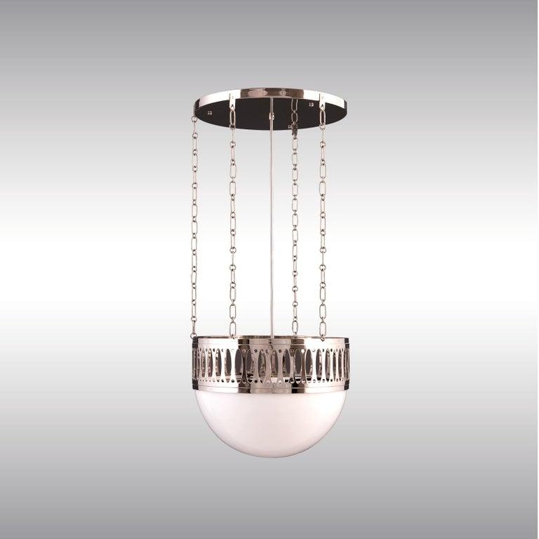 Austrian Wiener Werkstätte Chandlier/Ceiling Lamp made of Brass and Opaline glass 35cm DM For Sale