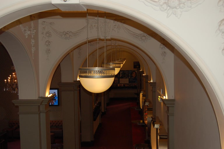 Hand-Crafted Wiener Werkstätte Chandlier/Ceiling Lamp made of Brass and Opaline glass 35cm DM For Sale
