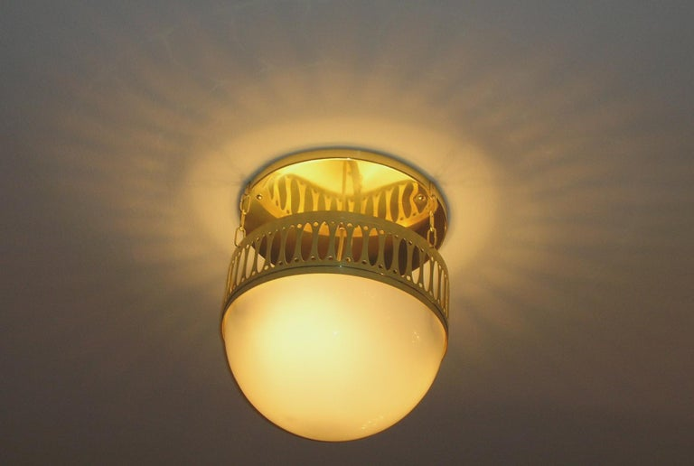 Wiener Werkstätte Chandlier/Ceiling Lamp made of Brass and Opaline glass 35cm DM In New Condition For Sale In Vienna, AT