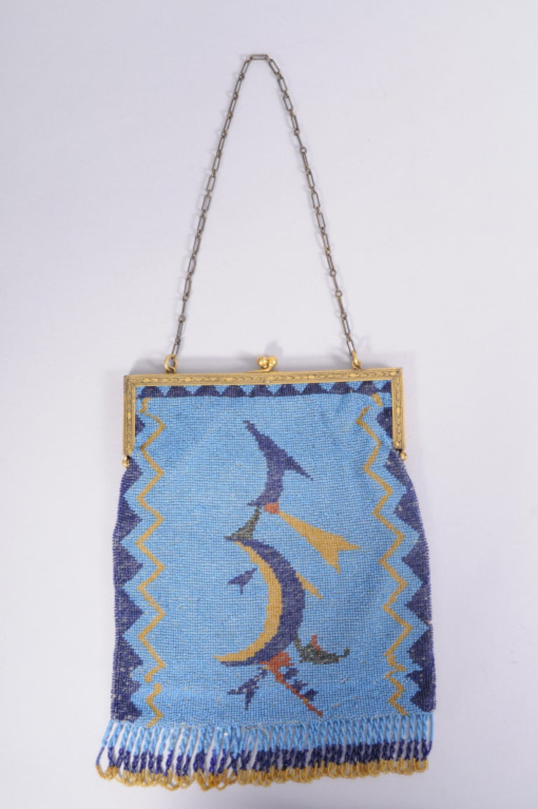 Wiener Werkstatte Graphic Turquoise Blue Beaded Bag with Frame In Excellent Condition For Sale In New Hope, PA