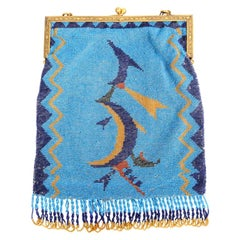 Wiener Werkstatte Graphic Turquoise Blue Beaded Bag with Frame