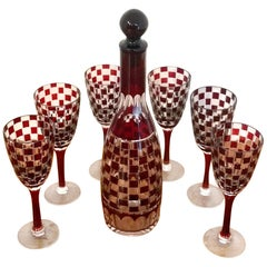 Wiener Werkstätte - Otto Prutscher Style Red Cut to Clear Decanter Set