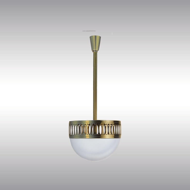Very elegant pendant-lamp - total drop custom-made. Also available as flush mount  Brass, optionally varnished or nickel-plated, all other surfaces on request, opaline-glass handblown.