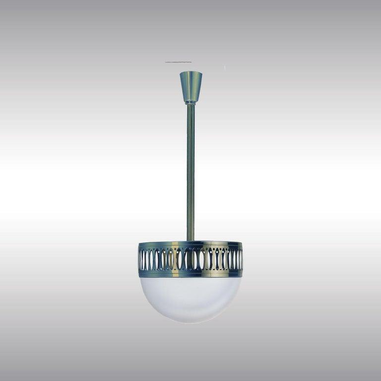 Austrian Wiener Werstaette Re-Edition 35cm Diameter Pendant Lamp Opaline Glass  For Sale