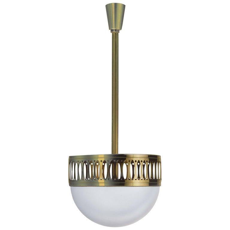 Wiener Werstaette Re-Edition 35cm Diameter Pendant Lamp Opaline Glass  For Sale