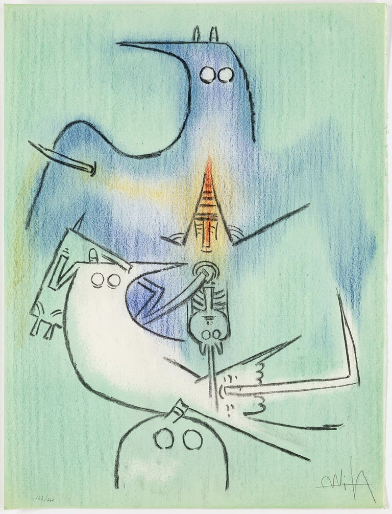 Stunning complete Wifredo Lam portfolio with 10 lithographs in colour, signed edition 123 of 262.
