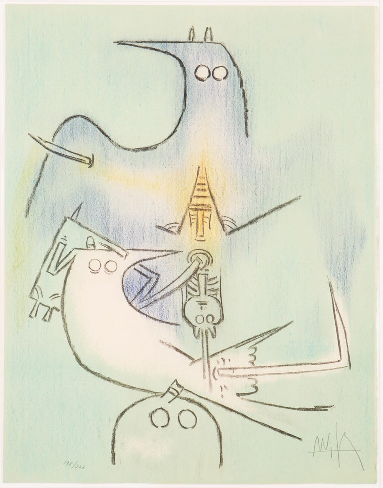 Artist: Wifredo Lam, Cuban (1902 - 1982) Title: Arbre de Plumes (Full Moon) from the Pleni Luna suite Year:  1974 Medium: Lithograph, signed and numbered in pencil Edition: 198/262 Paper Size: 25  x 19.5 in. (63.5  x 49.53 cm)