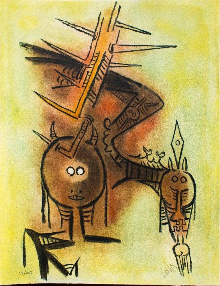 """Wifredo Lam Abstract Print - Belle épine - from the suite """"Pleni Luna"""""""