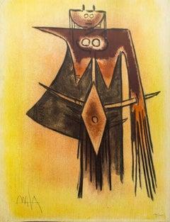 Demoiselle Blasonnée - Original Lithograph by Wifredo Lam - 1974