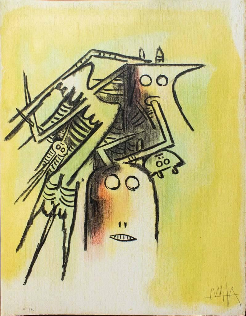 Elle, casqué - Original Lithograph by Wifredo Lam - 1974
