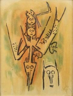 Laissez-moi l'Enjamber - Original Lithograph by W. Lam - 1970s