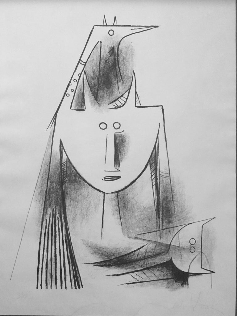 Artist: Wifredo Lam, Cuban (1902 - 1982) Title: Primitiv Gestalt (5501) Year:  1956 Medium: Lithograph, signed and numbered in pencil Edition: 40/135 Paper Size: 22 x 17.25 in. (55.88 x 43.82 cm)