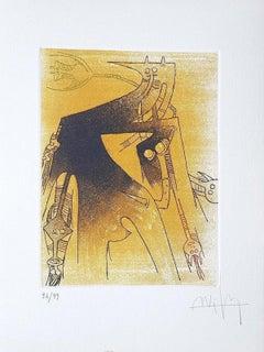 Untitled - Original Etching by Wifredo Lam - 1966