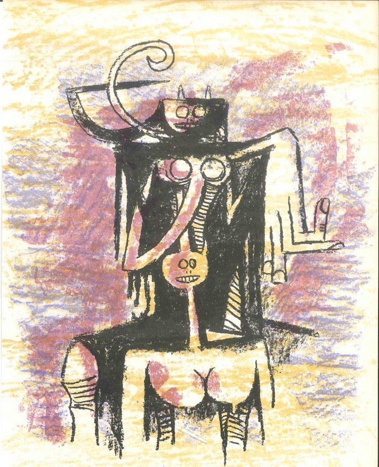 "Lithographie originale is an original print by the  Cuban artist Wifredo Lam (Sagua la Grande, 1902 - Paris, 1982).   This color lithograph on wove paper, was edited by the French magazine ""XXe Siécle"", and published on the Panorama 74 - Le"