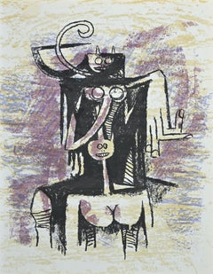 Untitled - Original Lithograph by Wifredo Lam - 1974
