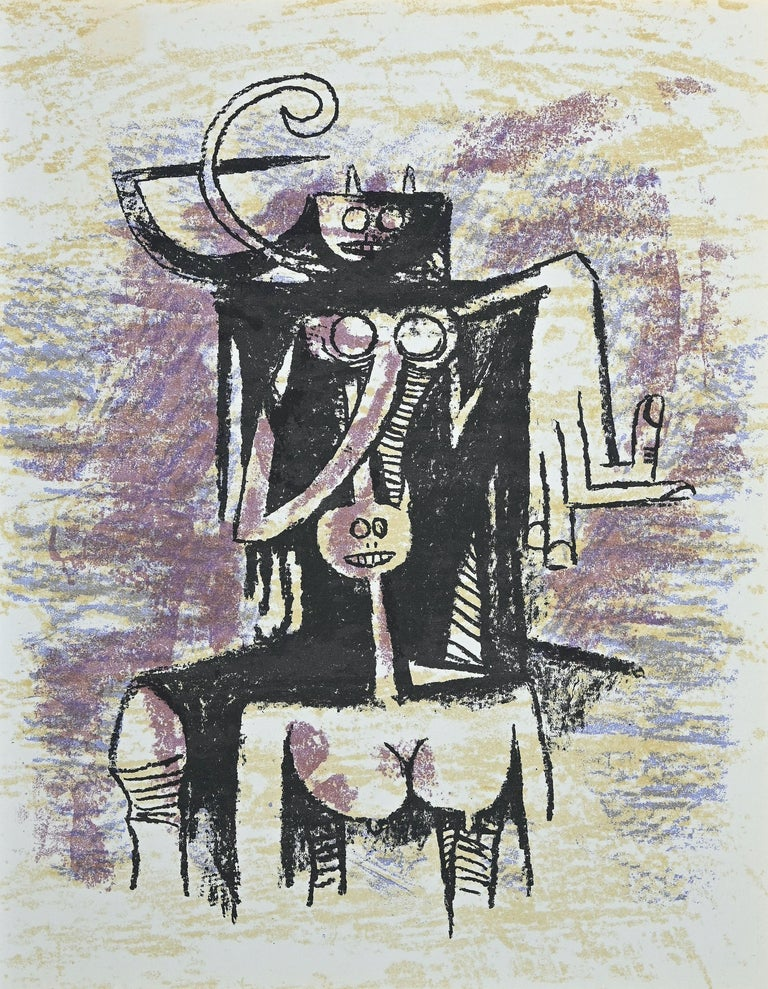 """Untitled is an original lithograph by the  Cuban artist Wifredo Lam (Sagua la Grande, 1902 - Paris, 1982).   This color lithograph on wove paper, was edited by the French magazine """"XXe Siécle"""", and published on the Panorama 74 - Le Surréalisme II,"""