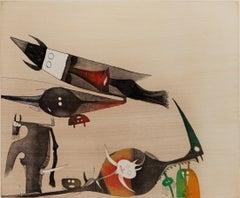 WIFREDO LAM, Lames de Lam 5, 1977 Catalogue Raisonne 370 etching cuban fine art