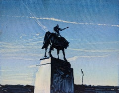 The Monument - Modern Oil Painting, Realism, Minimalism, Street Art, Cityscape