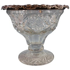 Wilcox Co. Cut Glass Punch Bowl with Sterling Silver Grapes