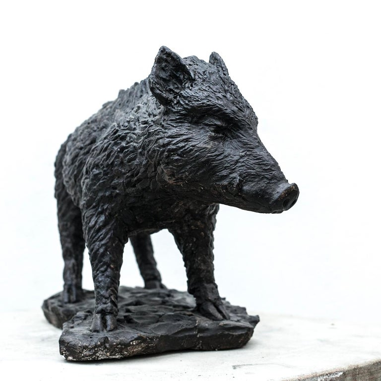 Part of a series of sculpture crafted by Vincenzo Romanelli as a homage to the wilderness of his region, Tuscany, this piece was made in 2015. It depicts with vivid detail and elegant sense of movement a young wild boar as it stands in its local