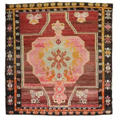 Wild Floral Traditional Turkish Rug Dated 1978
