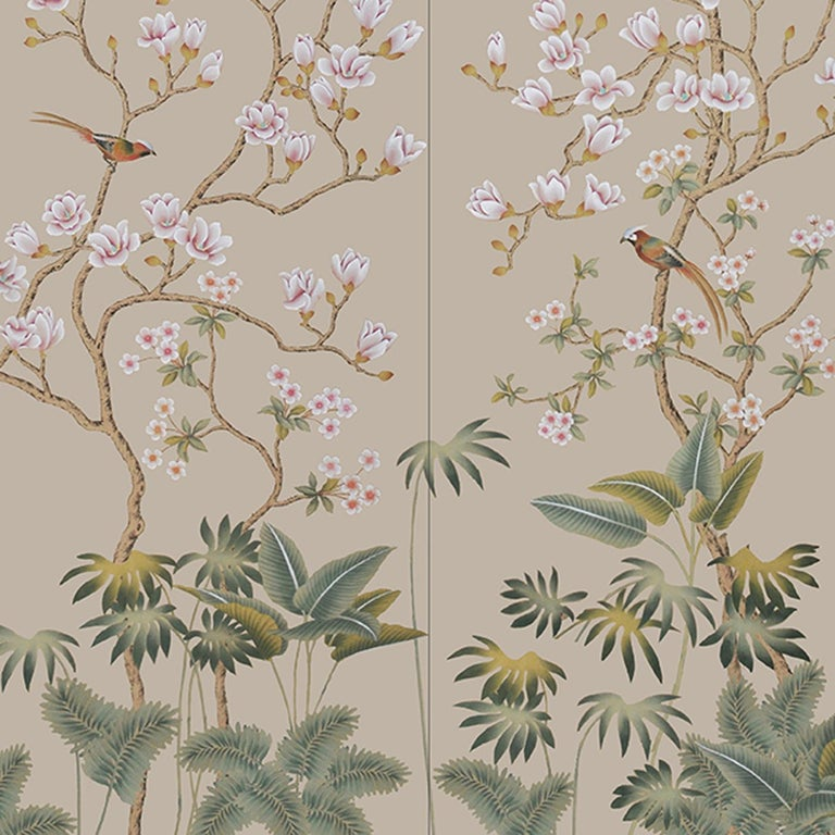 Hand-Painted Wild Magnolia Bush Wallpaper For Sale