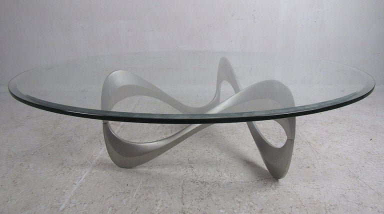 Late 20th Century Wild Mid-Century Modern Sculpted Metal Base Coffee Table For Sale