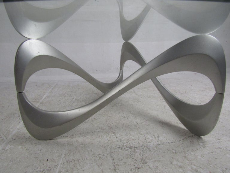 Wild Mid-Century Modern Sculpted Metal Base Coffee Table For Sale 3