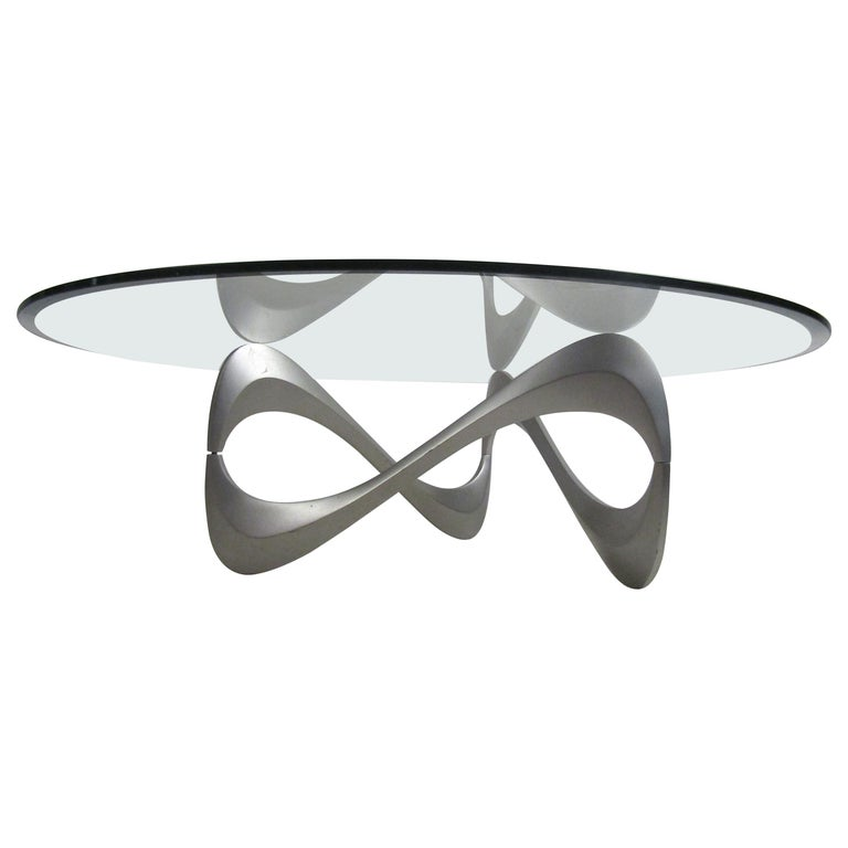 Wild Mid-Century Modern Sculpted Metal Base Coffee Table For Sale