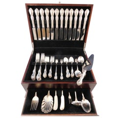 Wild Rose by International Sterling Silver Flatware Service 12 Set 90 Pcs Dinner