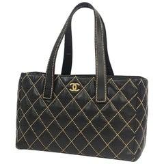 wild stitch  Womens  tote bag  black x Mat gold hardware