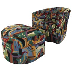 Wild Vintage Club Chair and Ottoman