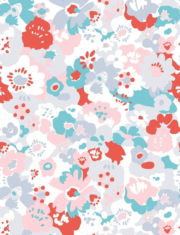 Wildflower Designer Wallpaper in Lola 'Red, Turquoise, Pink and Cool Greys' In New Condition For Sale In Brooklyn, NY
