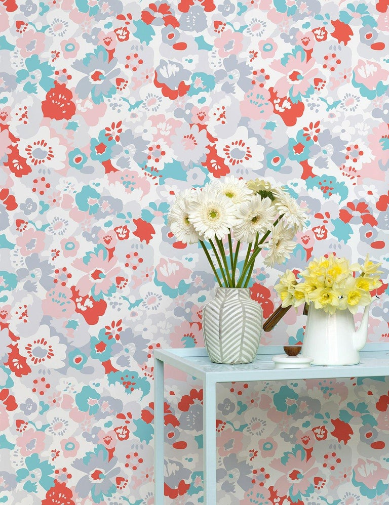 Contemporary Wildflower Designer Wallpaper in Lola 'Red, Turquoise, Pink and Cool Greys' For Sale
