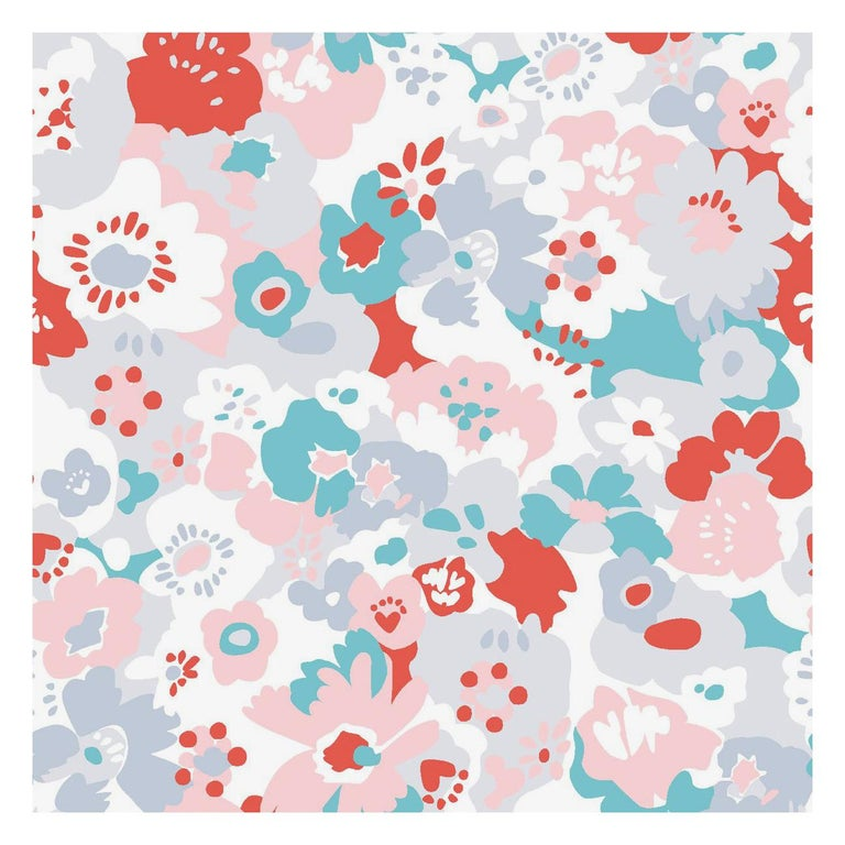 Wildflower Designer Wallpaper in Lola 'Red, Turquoise, Pink and Cool Greys' For Sale