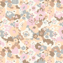 Wildflower Designer Wallpaper in Sundae 'Peach, Pink, Brown & Grey on White'