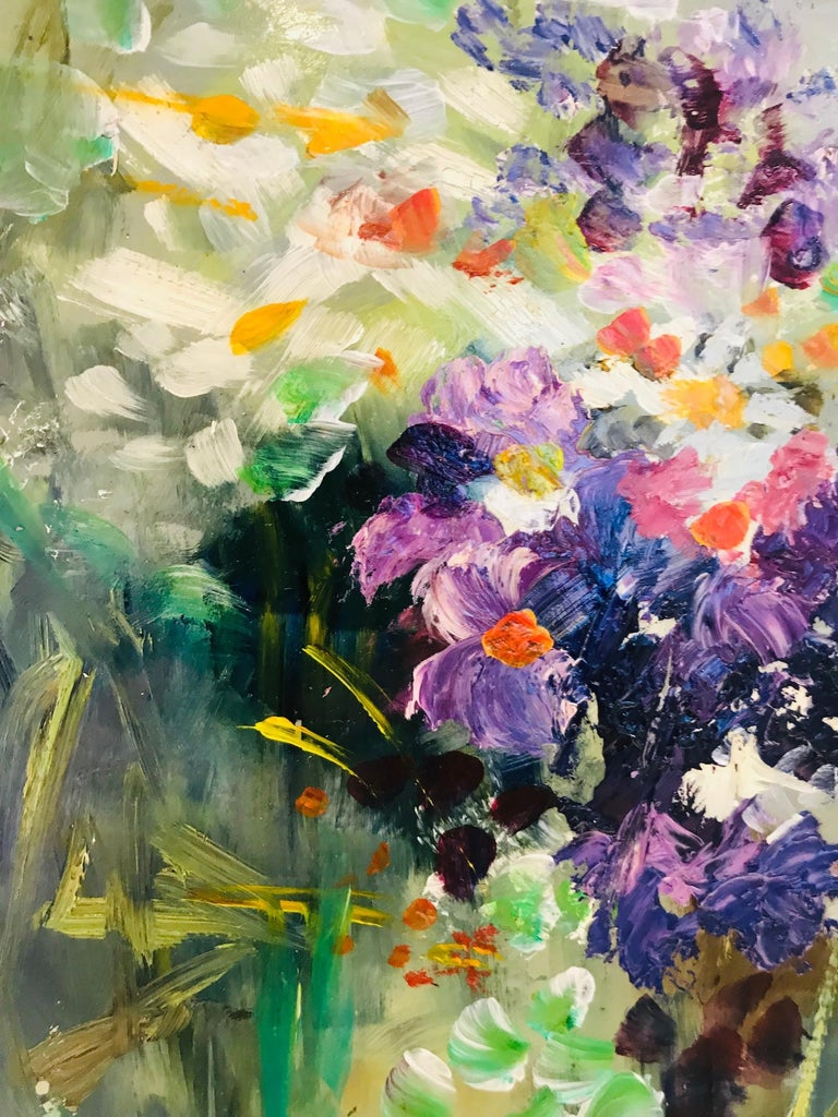 Wildflowers Impressionist Still Life Painting in Custom Frame by John Reilly For Sale 3
