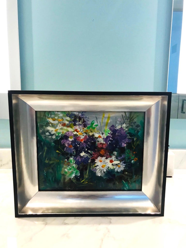 American Wildflowers Impressionist Still Life Painting in Custom Frame by John Reilly For Sale