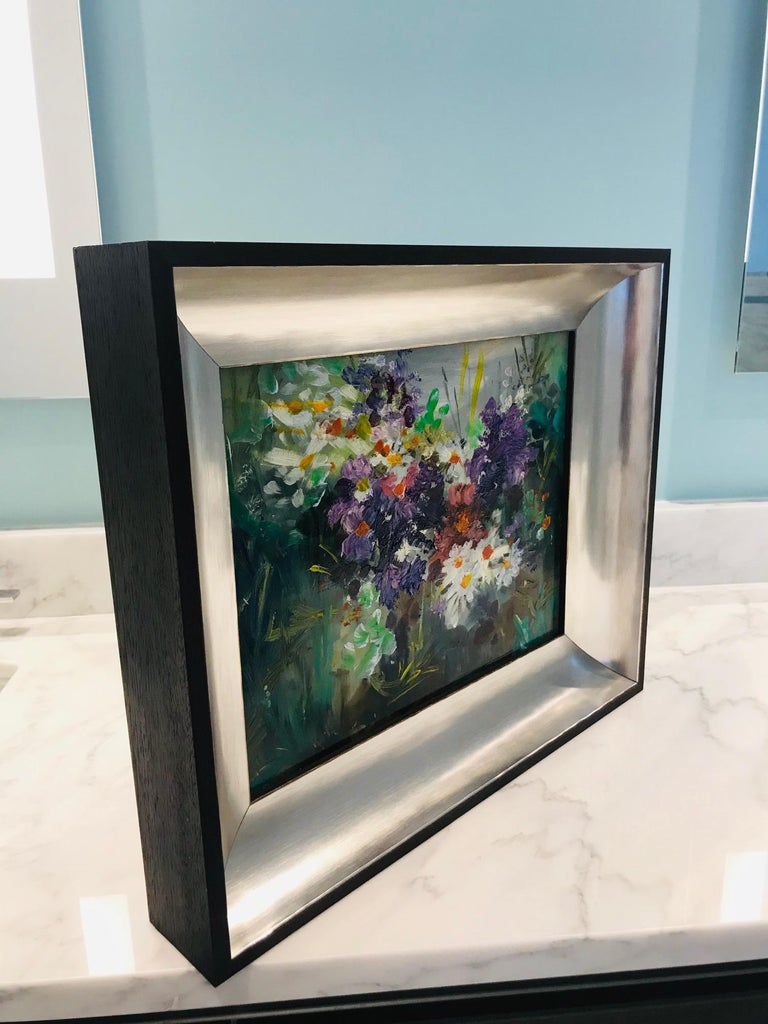 Ebonized Wildflowers Impressionist Still Life Painting in Custom Frame by John Reilly For Sale