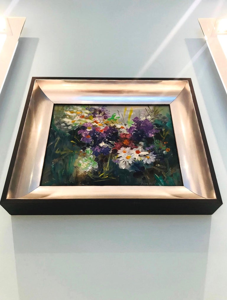 Wildflowers Impressionist Still Life Painting in Custom Frame by John Reilly In Excellent Condition For Sale In Miami, FL